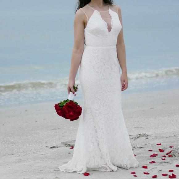 Lulu's Dresses & Skirts - Lulus Amazing Lace Plunge Illusion Wedding Dress